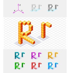 Isometric font from the cubes Letter R vector