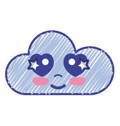 Kawaii nice tender cloud emoji vector