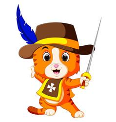 kitten musketeer with sword vector image