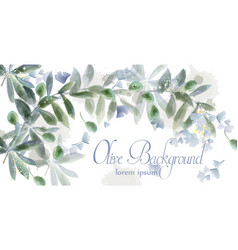 leaves card frame watercolor wild green vector image