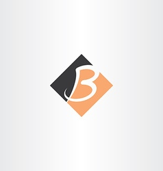 Letter b orange black icon logo vector