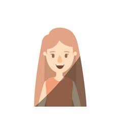 Light color shading caricature half body woman vector