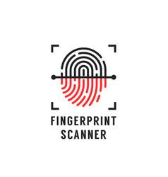 Linear fingerprint scanner simple icon vector