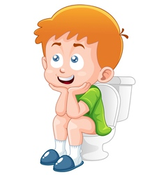 Little boy is sitting on the toilet vector