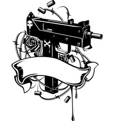 machine gun with barbed wire and ribbon vector image