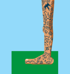 many tattoo legs vector image