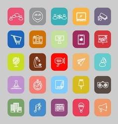 Media marketing line flat icons vector image