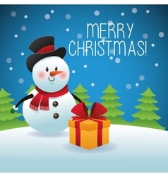 Merry Christmas concept with snowman icon vector image