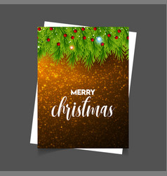 merry christmas glowing background with green vector image