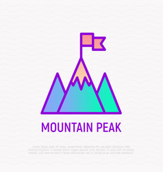 mountain peak with flag thin line icon vector image