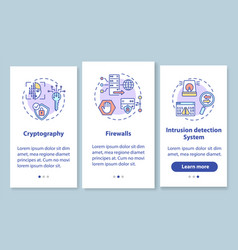 Network security onboarding mobile app page vector