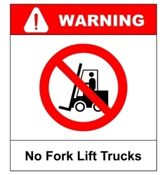 No forklift truck sign Red prohibited icon vector image