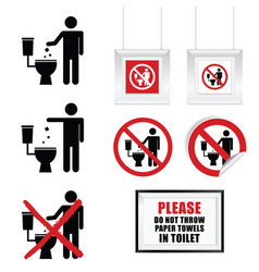 No throw paper towels in toilet sign set vector