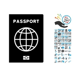 Passport Icon with 2017 Year Bonus Symbols vector image