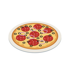 Pizza in isometric 3d style tasty pizza on the vector