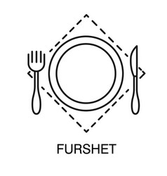 plate with fork and knife on kerchief furshet vector image