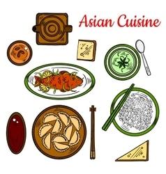 Popular thai dinner for asian cuisine design vector image