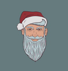 Portrait a sly smiling gray-bearded man in a vector