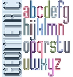 Retro colorful font with triple equal lines vector