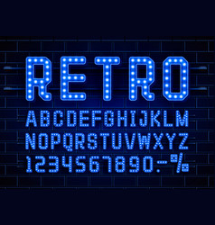 retro font vintage light sign set vector image