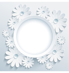 Round frame with 3d white chamomile greeting card vector