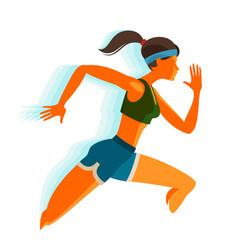 running girl fitness sport concept vector image