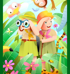 scout boy and girl jungle adventure with animals vector image