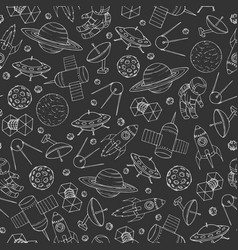 seamless pattern with cosmonauts rockets ufo vector image