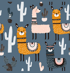 Seamless pattern with cute llamas ans cactuses vector