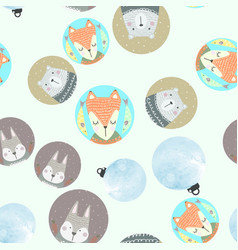 Seamless pattern with gray rabbit fox polar bear vector