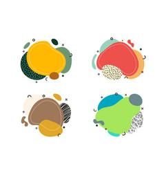 set badge abstract hand drawn organic shape vector image