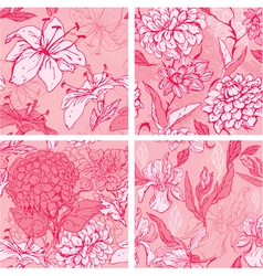 Set of 4 Floral Seamless Patterns in pink colors w vector