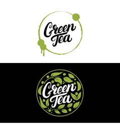 Set of Green Tea hand written lettering with vector image