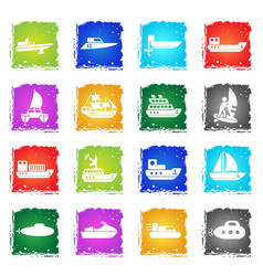 ships yachts and boats icons set vector image