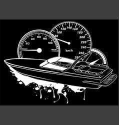 Silhouette motor boat race vector