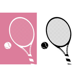 silhouette tennis racket and ball icon on pastel vector image