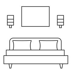 Sleeping room bed icon outline style vector