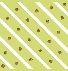 Sparkly glam golden circles on a diagonal striped vector