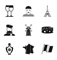 Stay in France icons set simple style vector image