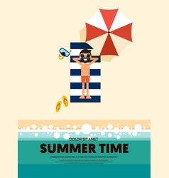 Summer time and happy holiday poster template vector