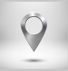 Technology map pointer button with metal texture vector