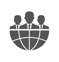 Three businessman silhouettes and earth vector