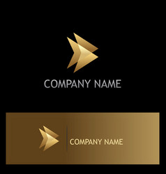 Triangle gold abstract direction logo vector