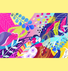 tropical colorful trendy art print from exotic vector image