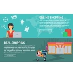 Two banners online and real shopping vector image