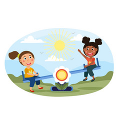 Two young girls playing on a see-saw vector