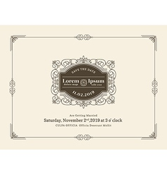 vintage wedding invitation card frame template vector image