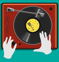 Vinyl record and dj scratch vector