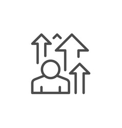 Visitor increase line outline icon vector