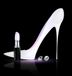 White shoe and lipstick vector